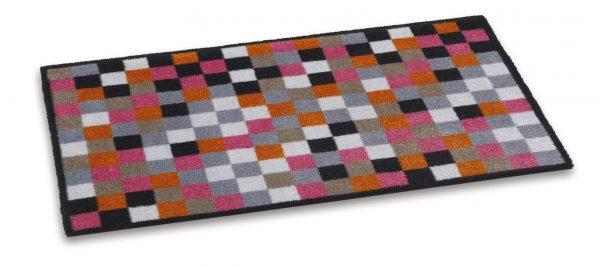 Ambiance 50 x 75cm coir door mat - barrier entrance door mat orange/pink/black