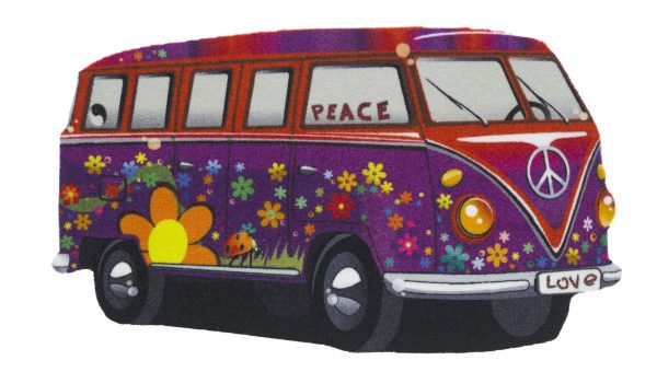 VW camper van floor mat - VW camper van entrance mat - purple/red