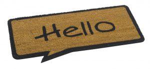 Vico Cartoon Hello Natural coir brush door mat - coir brush entrance floor mat