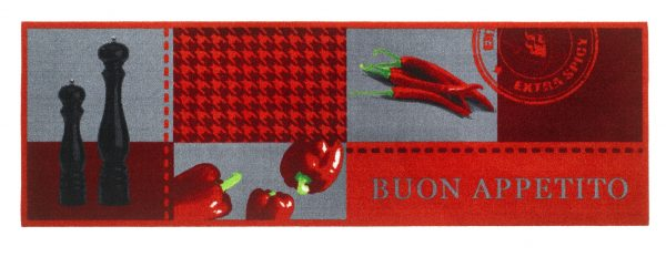 Galley Kitchen Runner Buon Appetito Polyamide printed kitchen runner, pileweight 300 gr/sq.m, micro-flex non-slip backing