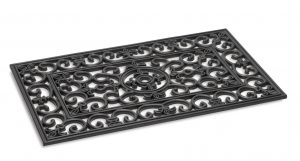 Kilkenny Rectangle iron scroll effect outdoor rubber entrance mat - floor mat