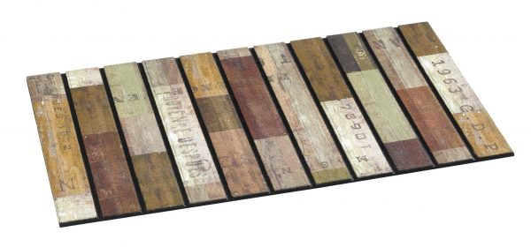 Ecomat masterpiece rustic wood slats door mat - Coir Brush Mats Embedded in non slip heavy rubber base