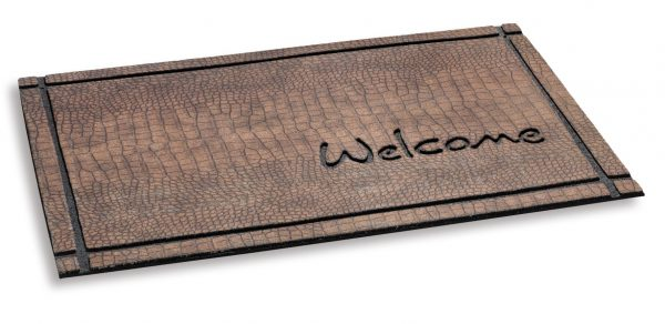Ecomat masterpiece welcome crocodile - Coir Brush door Mats Embedded in non slip heavy rubber base
